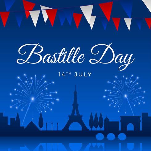 Bastille dag groet sjabloon Vector