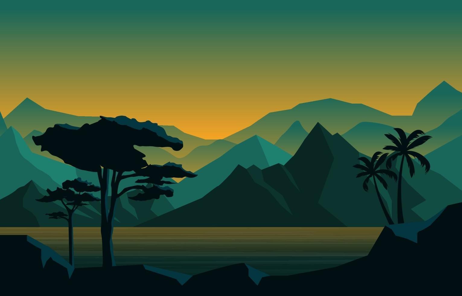 avond kalm in berg boslandschap illustratie vector