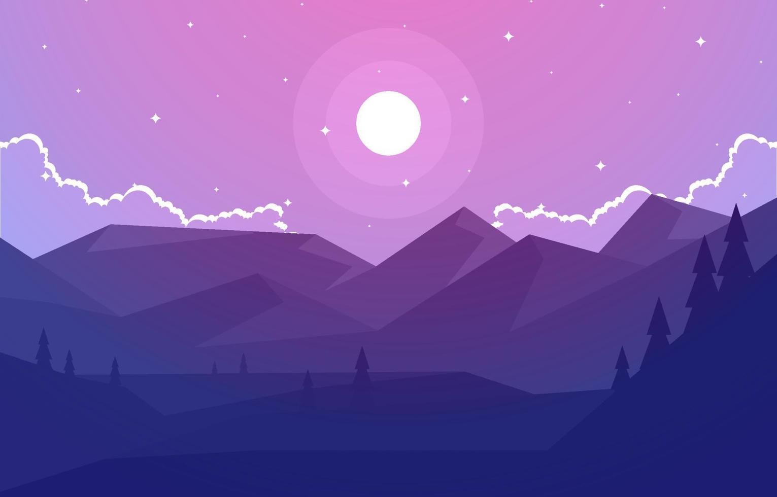 avond kalm over berg boslandschap illustratie vector