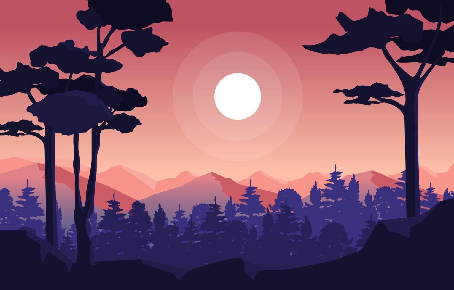 kalme berg boslandschap illustratie vector