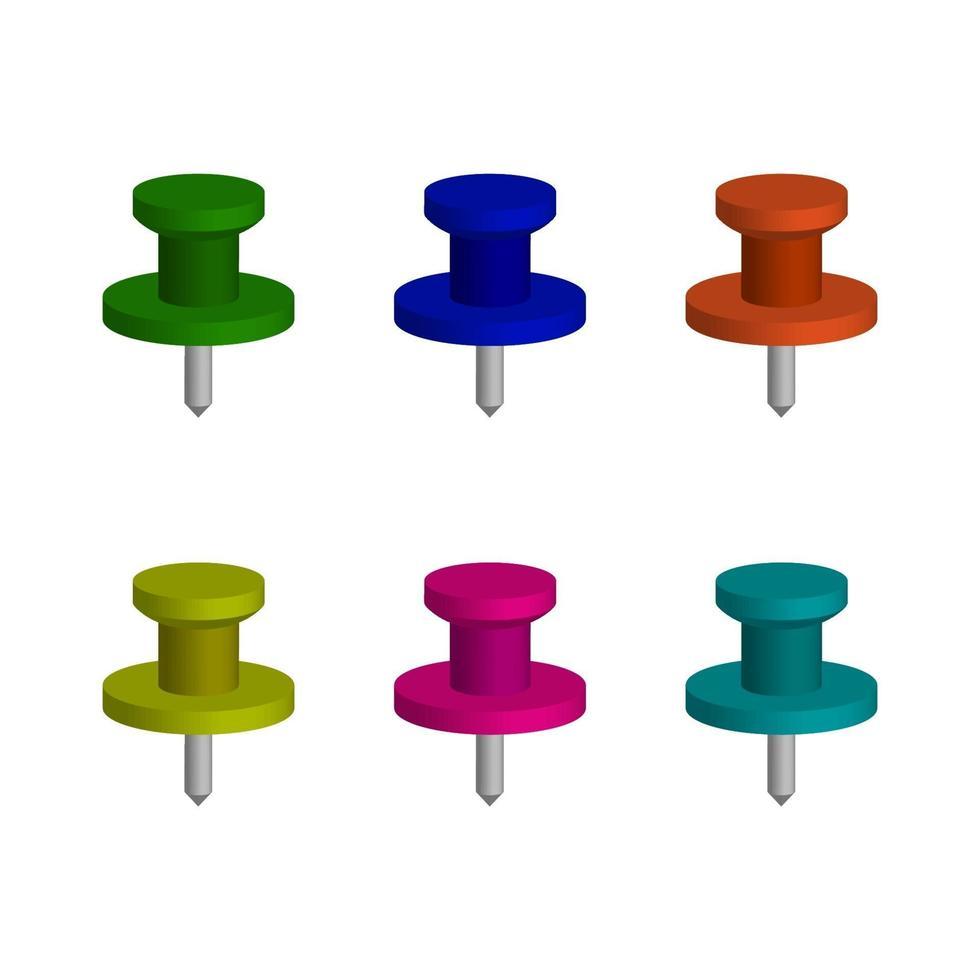 set push pins op witte achtergrond vector