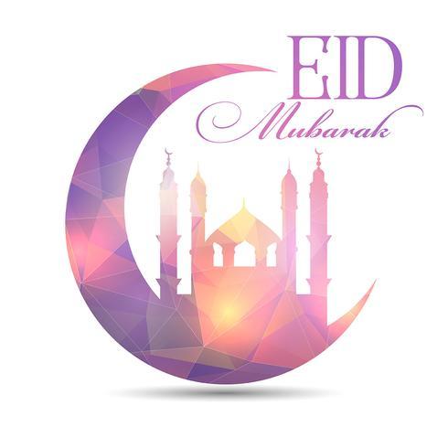 Eid Mubarak-achtergrond met laag polyontwerp vector