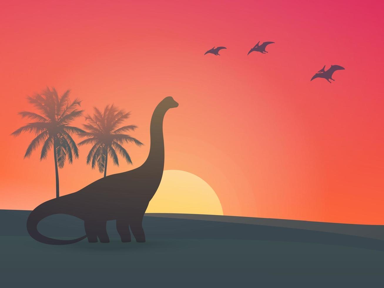 dinosaurus, sauropod bij zonsondergang vector illustration.eps