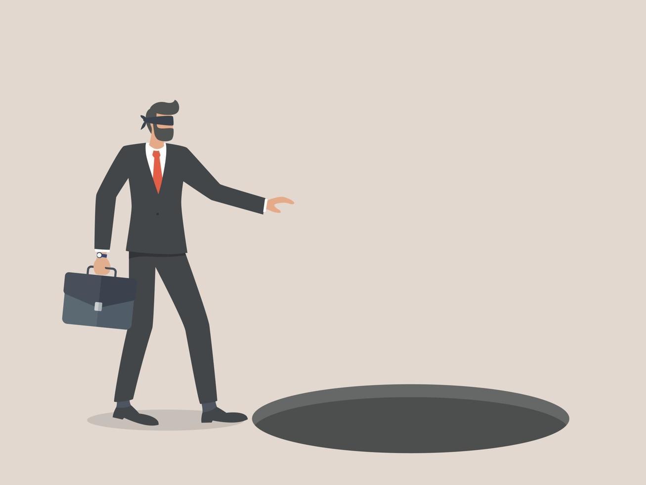 zakenman met een blinddoek loopt in een gat of val vector