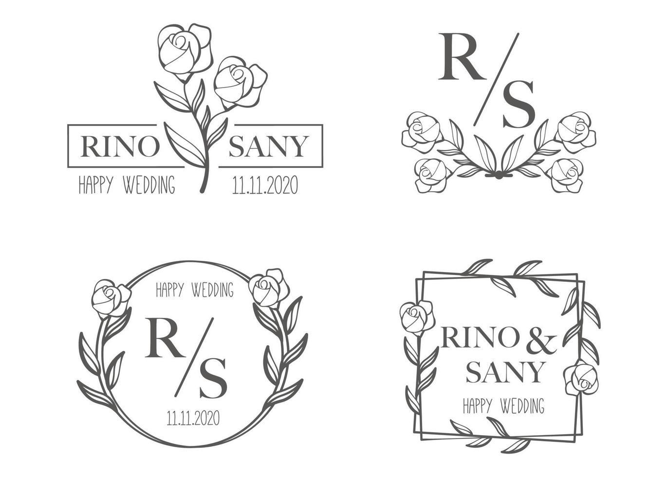 hand getrokken bloemen bruiloft logo sjabloon instellen vector