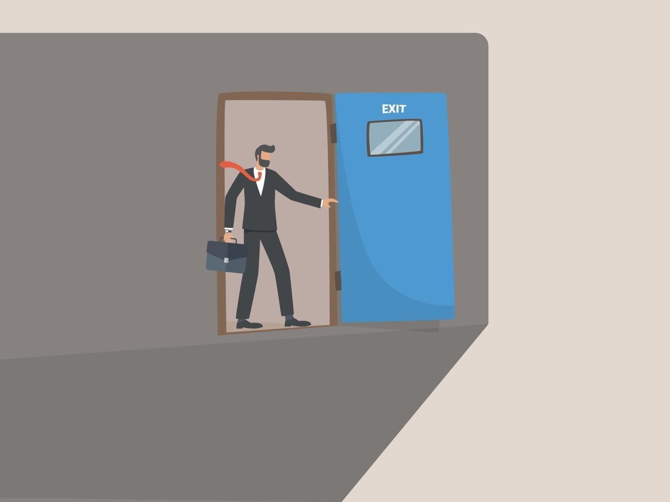 verkeerde beslissing in het bedrijf of einde van carrièrepad, concept van onderbreking van de zakelijke carrière. vector