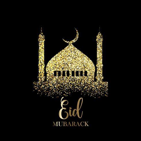 Glitter Eid Mubarak-achtergrond vector