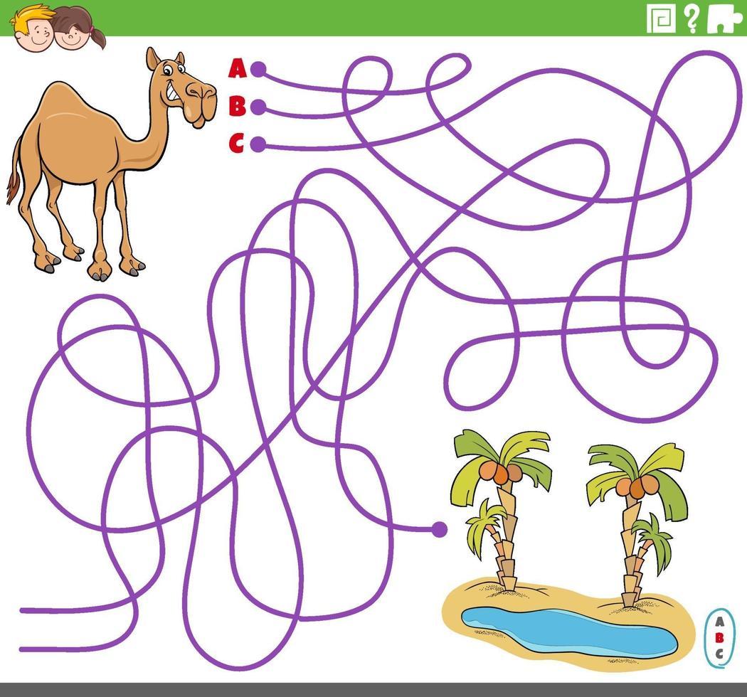 educatief doolhofspel met cartoon kameel en oase vector