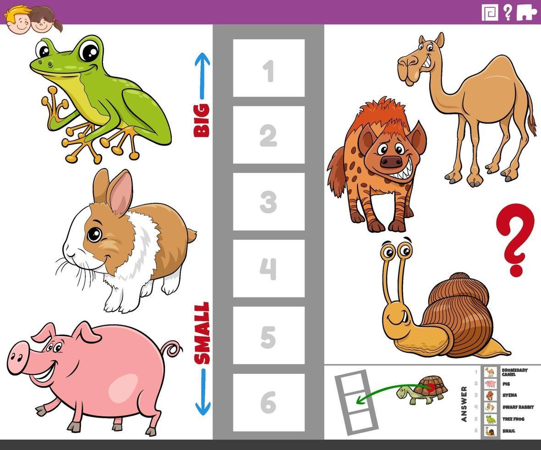 educatief spel met grote en kleine tekenfilm dieren voor kinderen vector