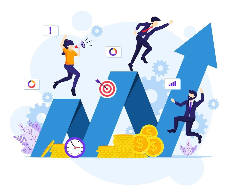 investeringsconcept, zakenman groeit met succes bedrijf, verhoogt de financiële investeringswinst platte vectorillustratie vector
