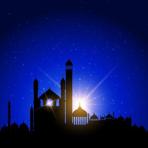 Moskeesilhouetten tegen nachthemel vector