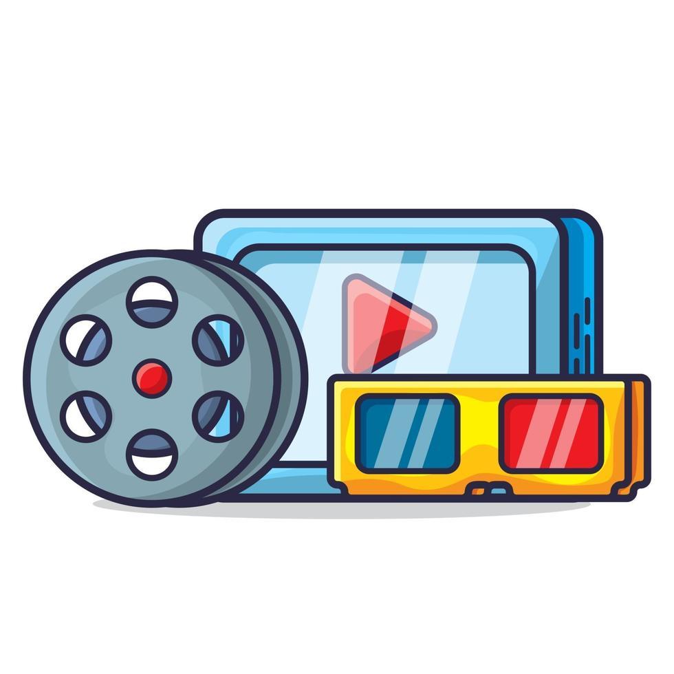 elektronische tablet, rolfilm en 3D-bril voor het bekijken van de illustratiecollectie van het filmconcept vector