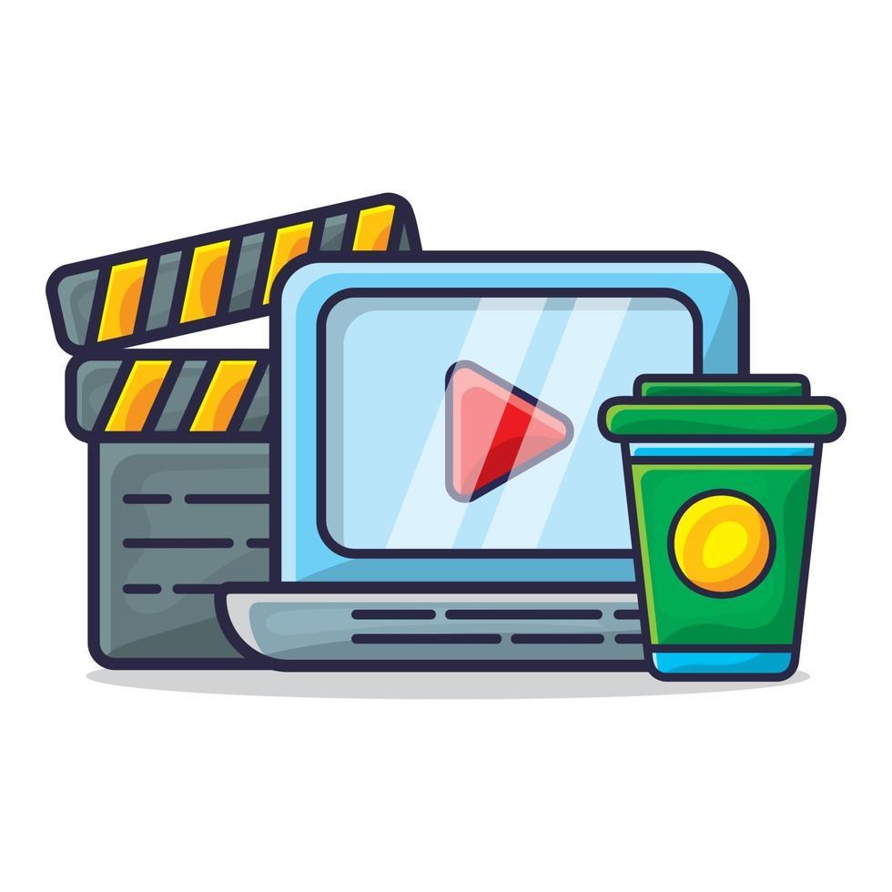 laptop, klepelbord en drankje voor het kijken naar de illustratie van het filmconcept vector
