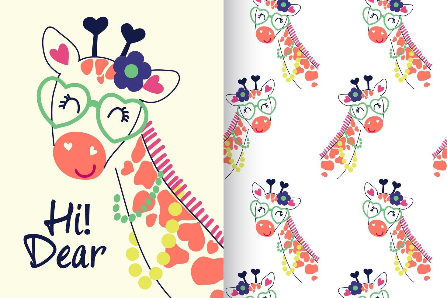 hand getekend schattige giraf met patroon ingesteld vector