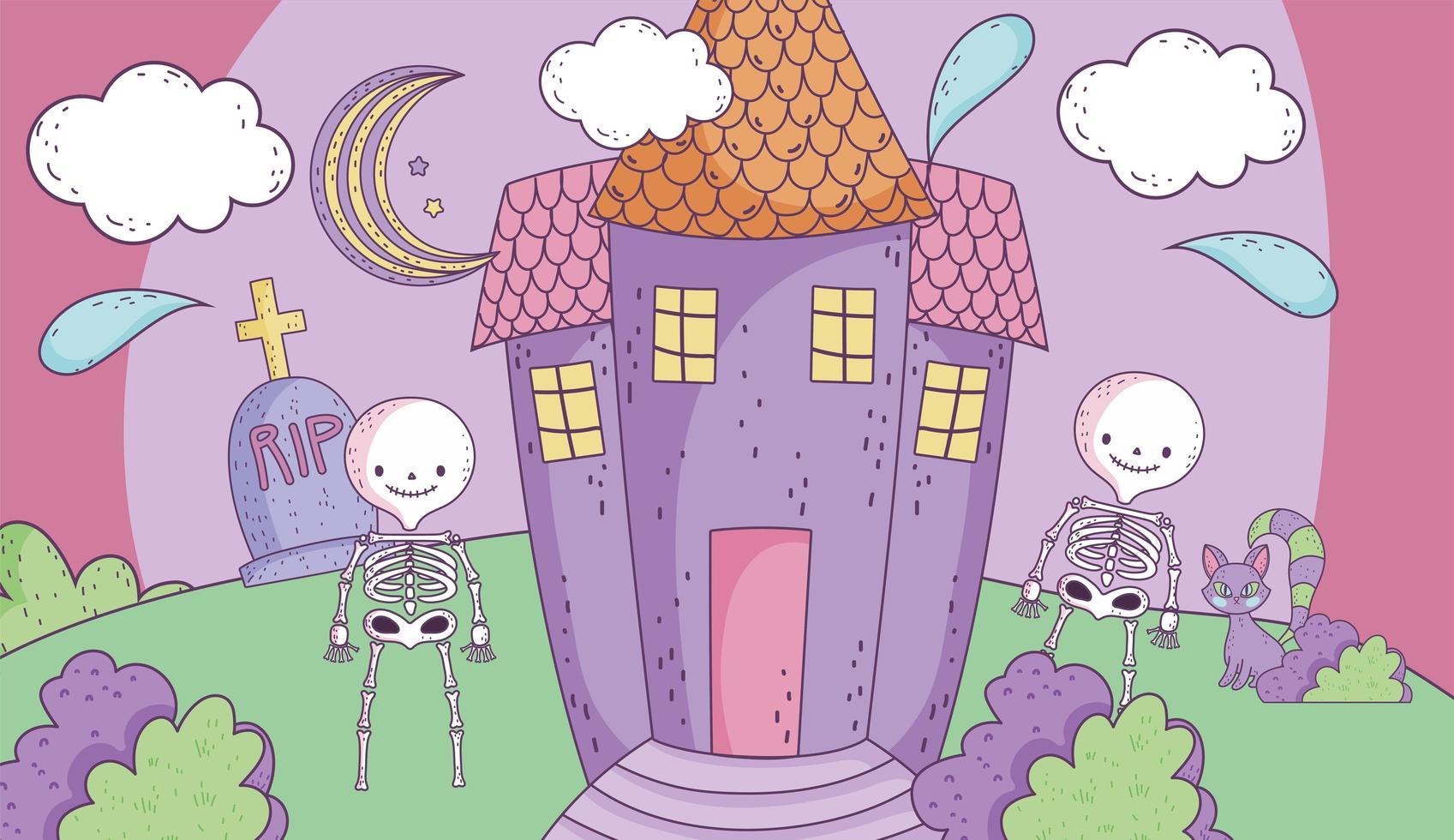 schattige halloween-poster met skeletten vector