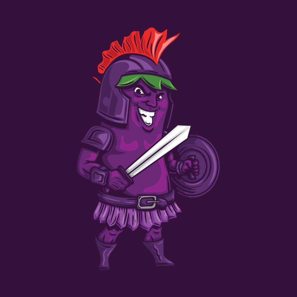 Spartaanse aubergine logo karakter mascotte in cartoon stijl vector
