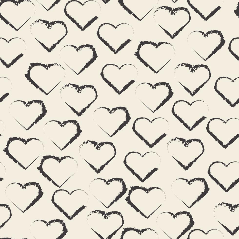 naadloze valentijn patroon achtergrond met zwart-wit hart vorm stempel vector