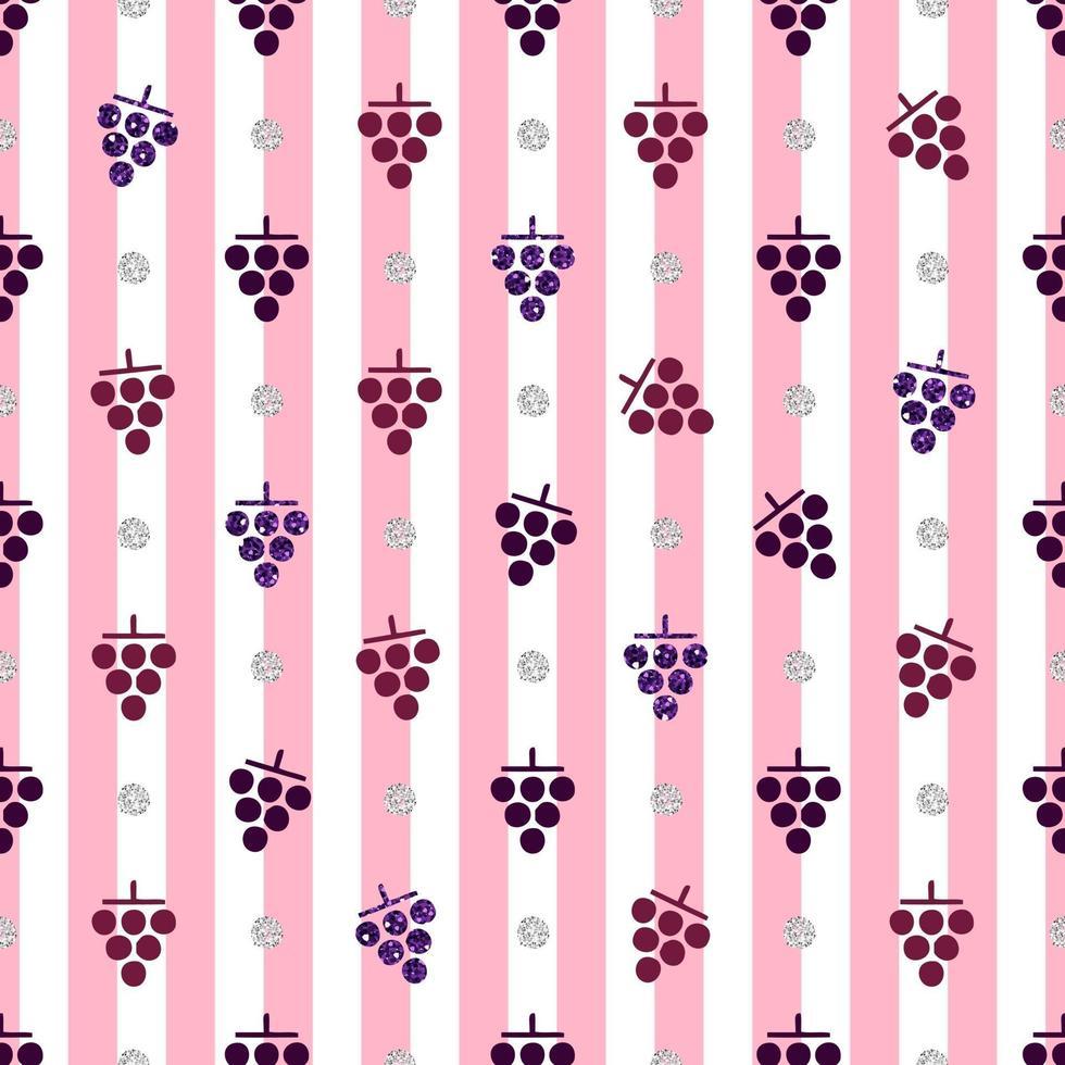 naadloze rode en paarse glitter druivenpatroon op streep achtergrond vector