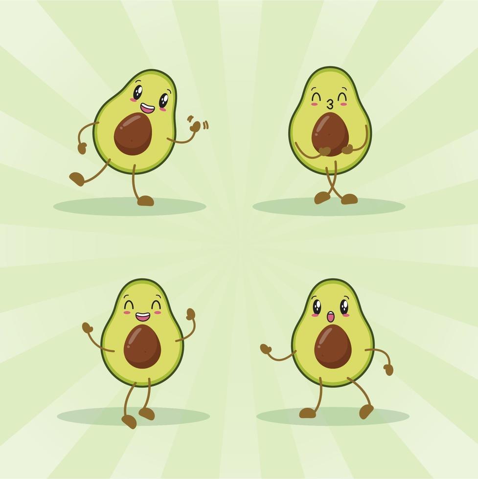 avocado schattige expressie set collectie. avocado mascotte karakter vector