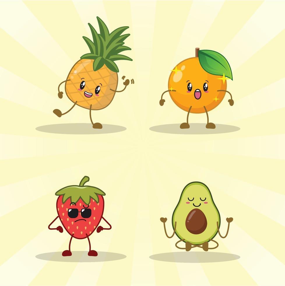 aardbei, sinaasappel, avocado, ananas schattige expressie set collectie. vector
