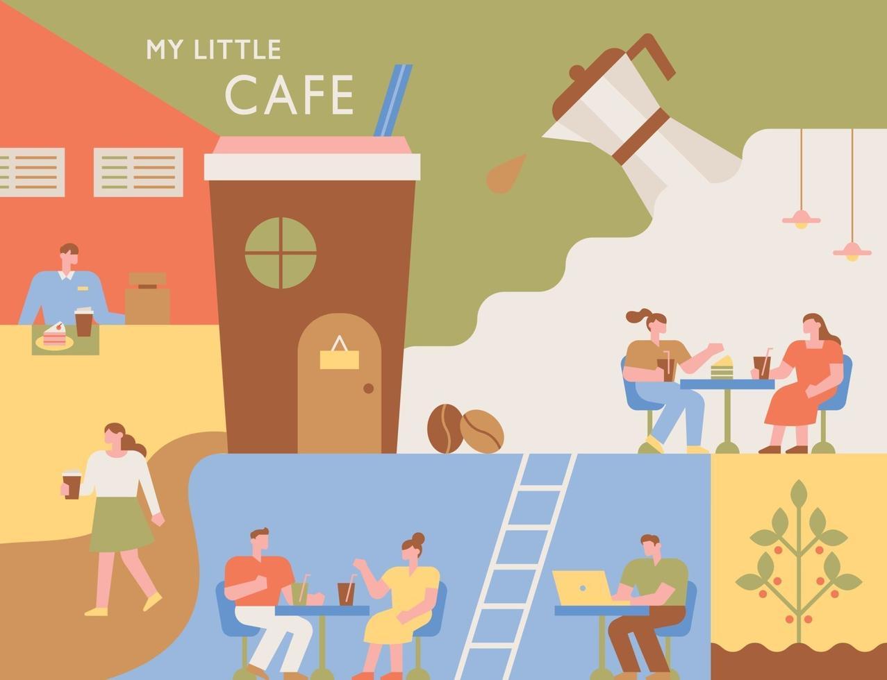 coffeeshop poster. interieur van een coffeeshop met verschillende lay-outs. mensen zitten aan tafel en drinken koffie. vector
