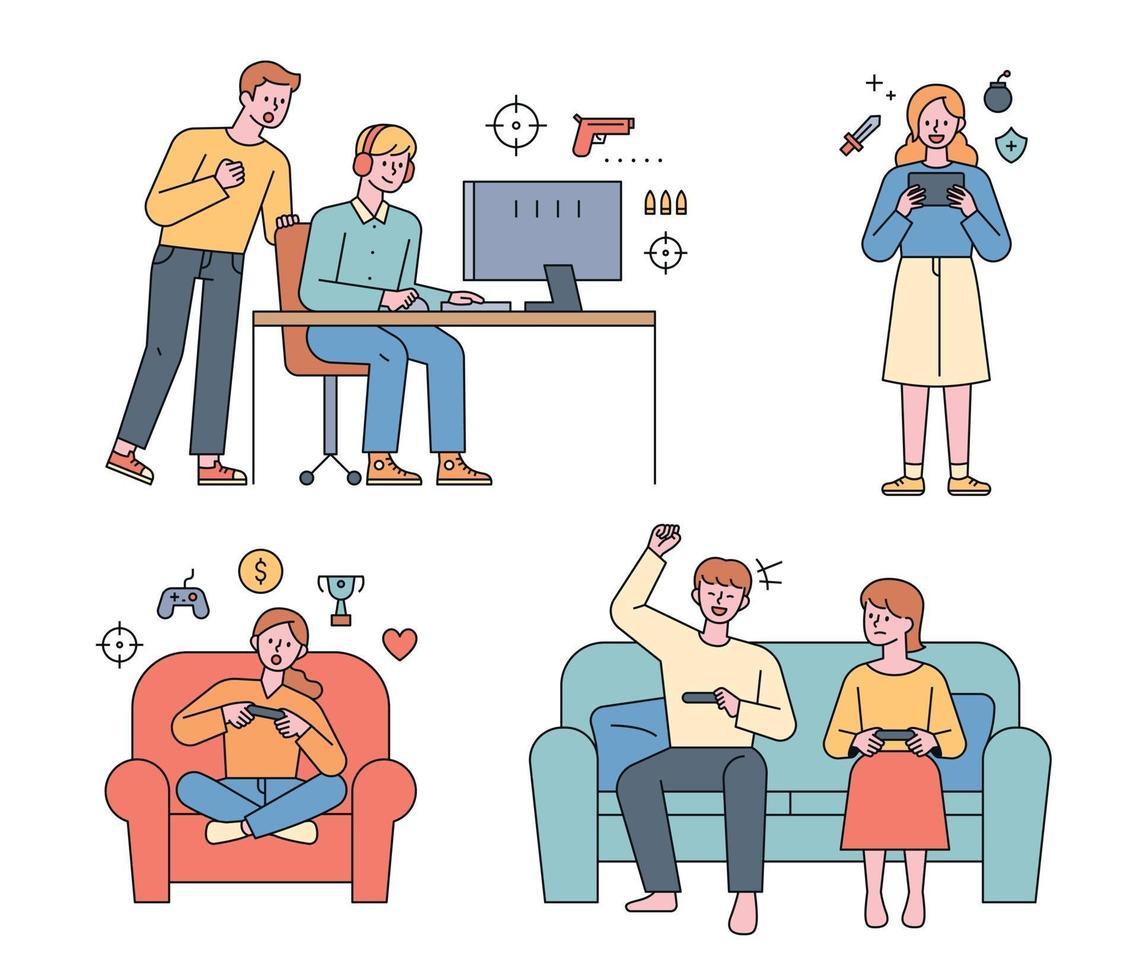 mensen spelen videogames. vrienden die games spelen op de computer, mensen die mobiele games spelen. vector