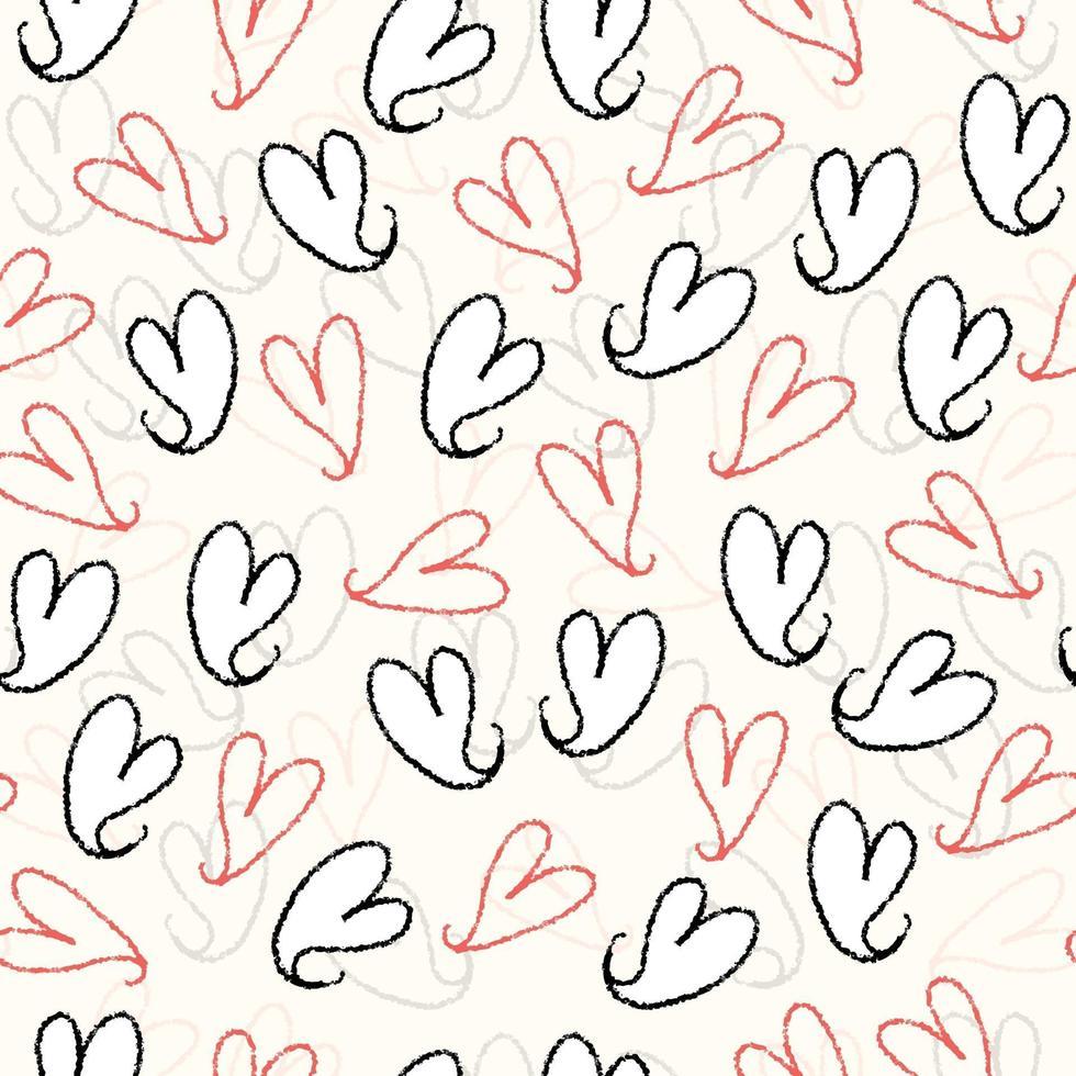 naadloze Valentijnsdag patroon achtergrond uit hand tekenen hart vector