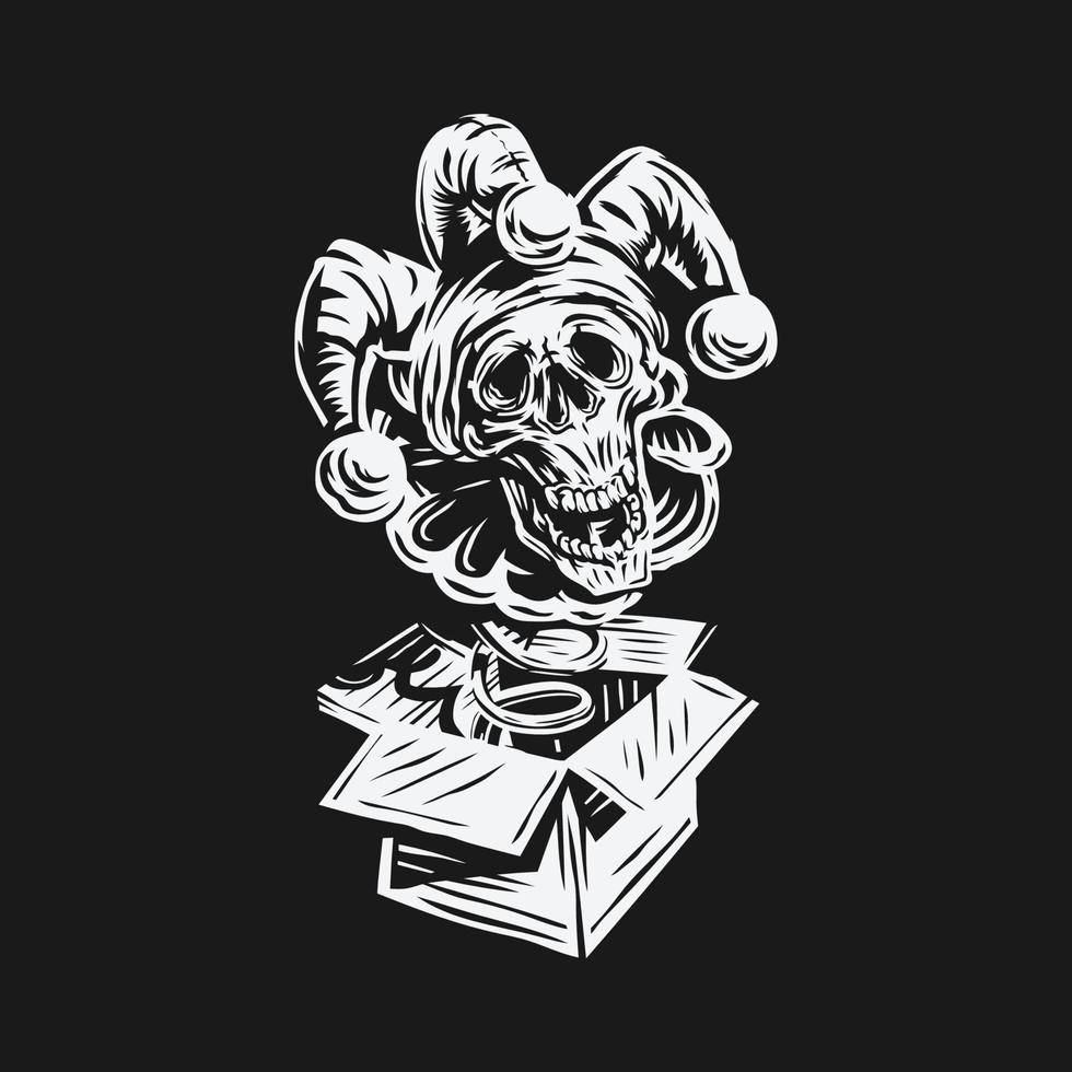 hand getrokken april dwazen dag vector. schedel clown jack in the box-ontwerp vector
