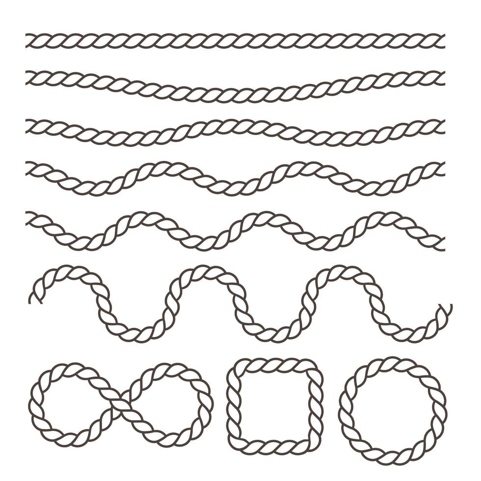 zwaaiende zwarte nautische touwen vector