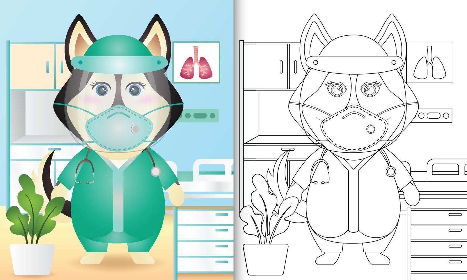 kleurboek voor kinderen met een schattige husky hond karakter illustratie vector