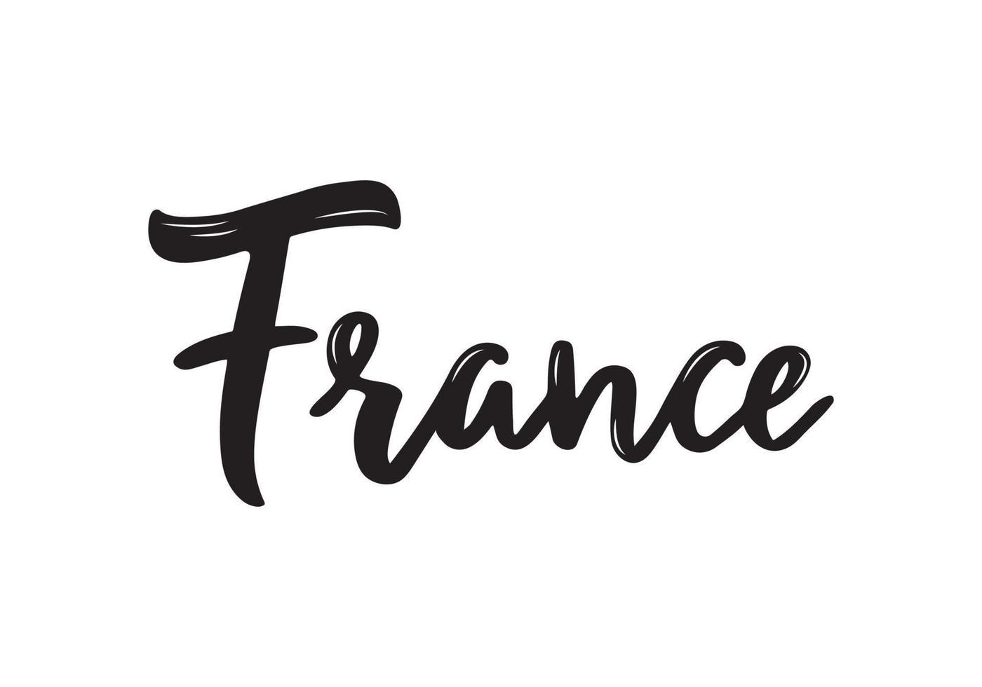 Frankrijk handgeschreven kalligrafie naam van Europees land. hand getrokken borstelkalligrafie. vector