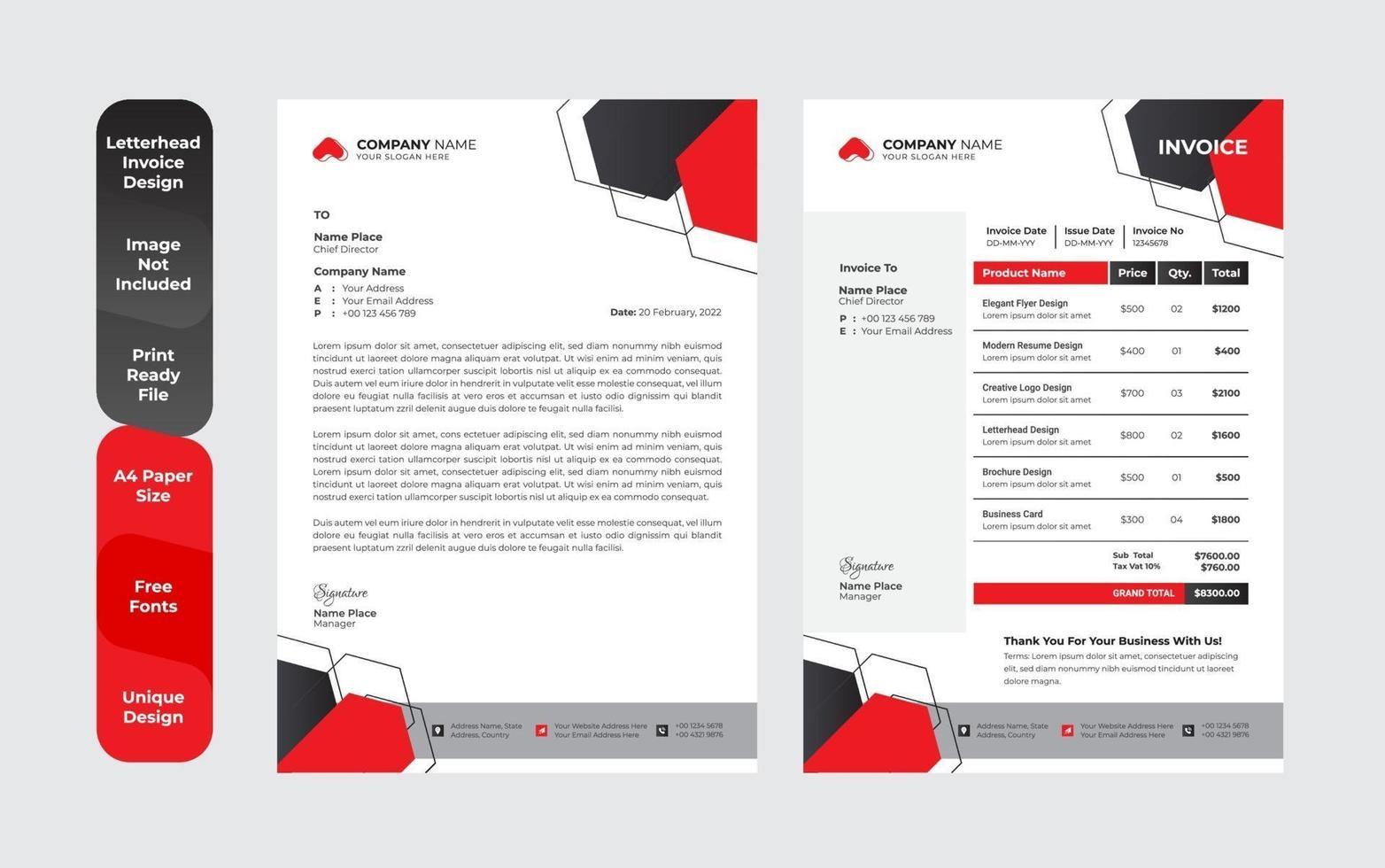 unieke zakelijke stijl briefhoofd ontwerpsjabloon set vector