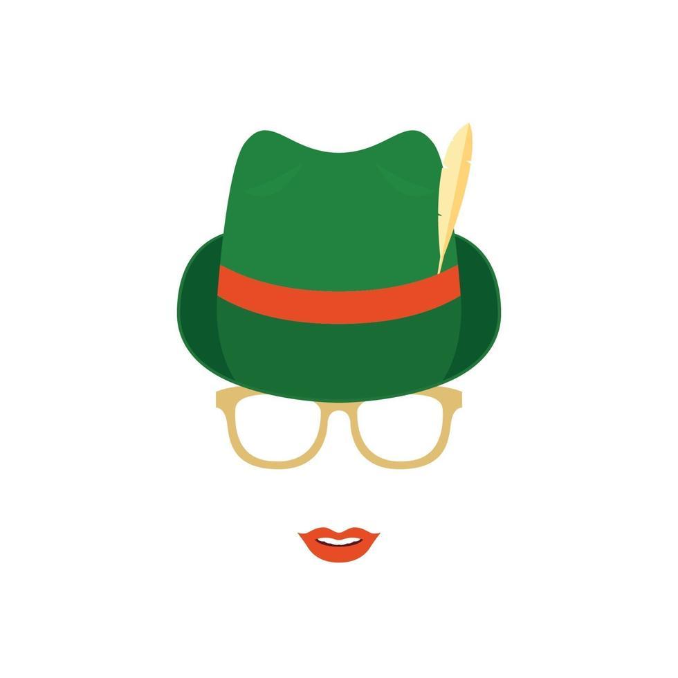 schattig meisje in glazen en groene traditionele Duitse hoed. vector