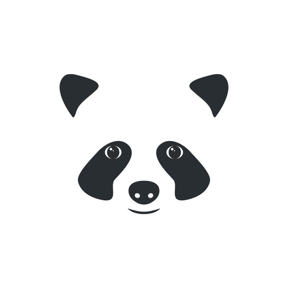 vector panda hoofd. klein panda-logo, zwart op wit.