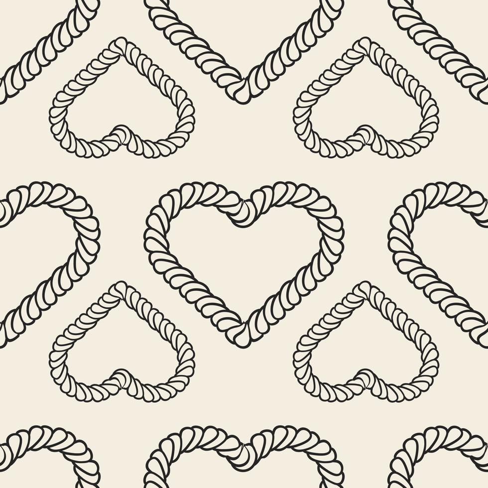 naadloze Valentijnsdag patroon achtergrond met zwart-wit hart van klassiek touw vector