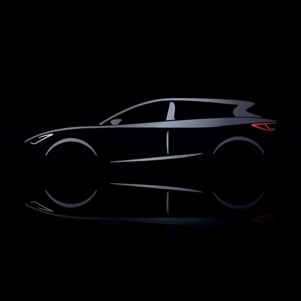 zilveren silhouet van auto op zwarte achtergrond met reflectie. vector