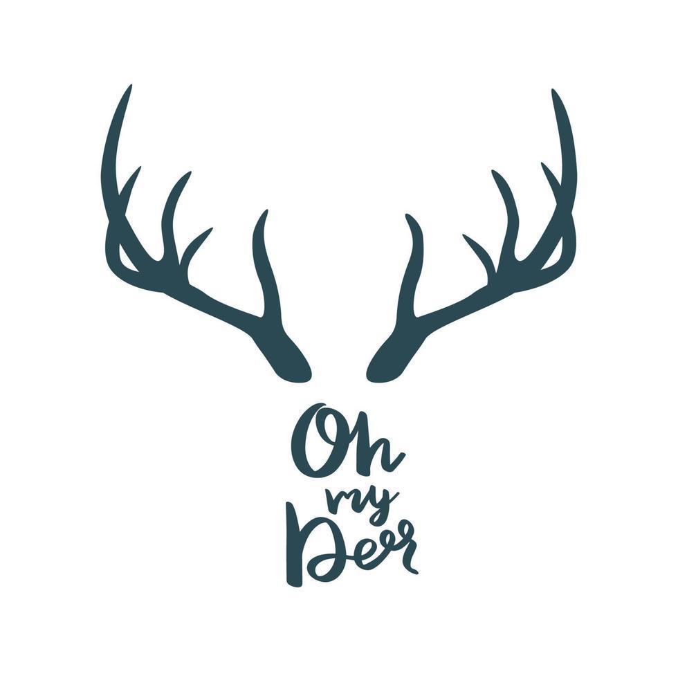 gewei met de inscriptie - oh mijn hert. vector