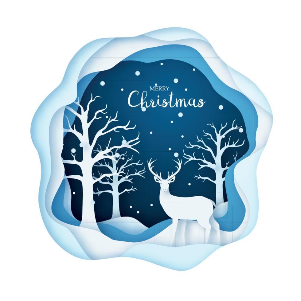 papier kunst illustratie, herten in een besneeuwd bos. vrolijk kerstfeest en een gelukkig nieuwjaar. vector