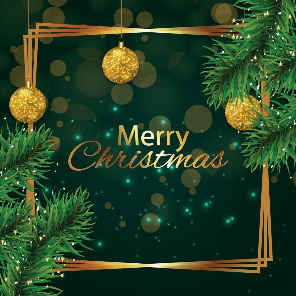 vrolijk kerstfeest wenskaart met takken en gouden ornamenten vector