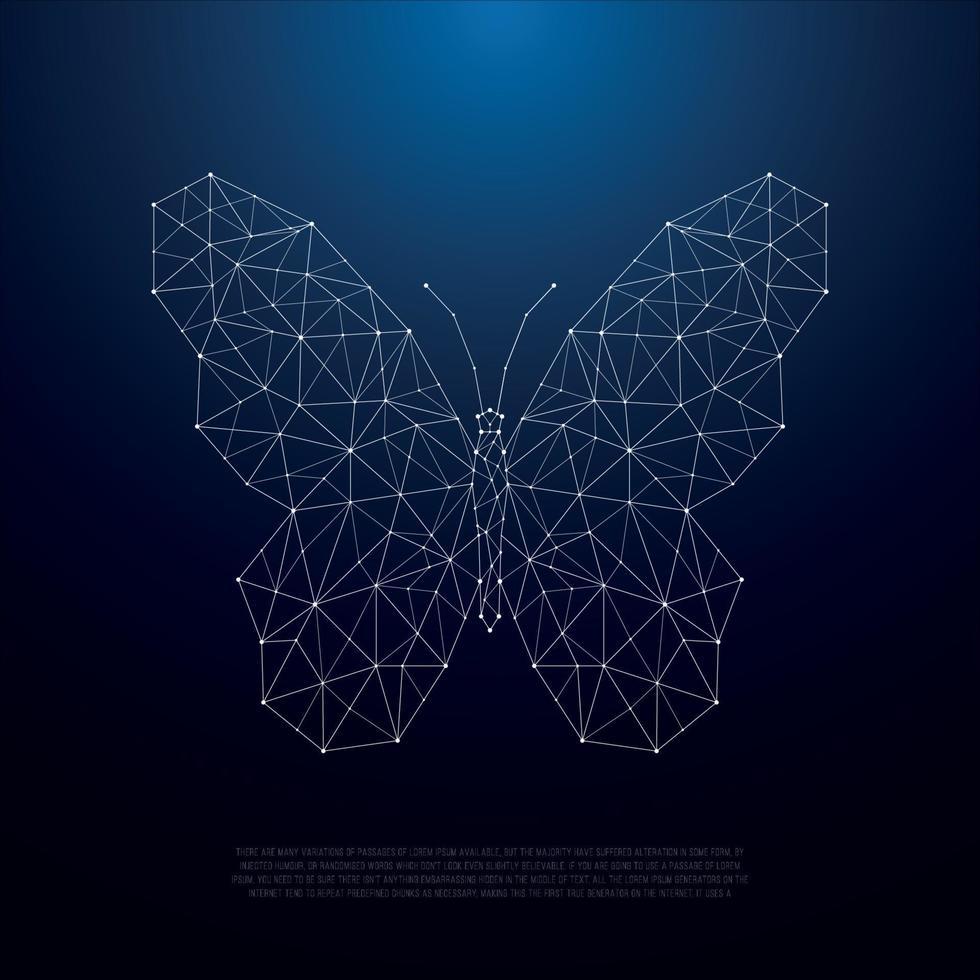 laag poly vlinder silhouet. prachtige geometrische vlinder illustratie. vector