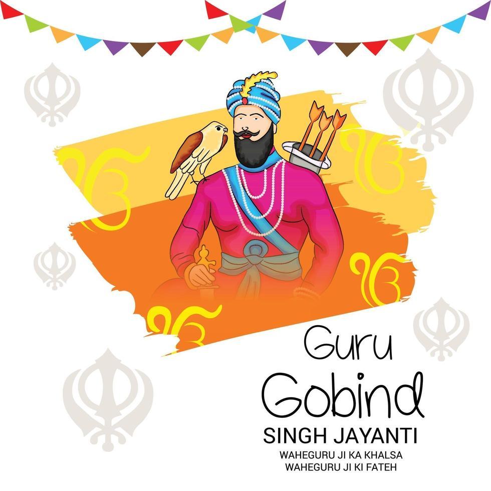 vectorillustratie van een achtergrond voor happy goeroe gobind singh jayanti festival voor sikh-viering. vector