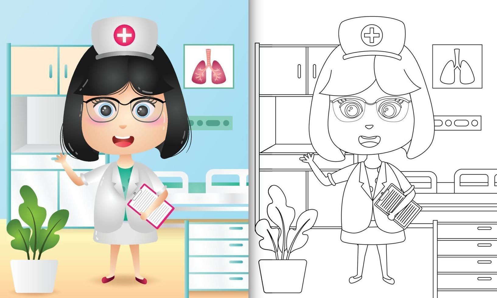 kleurboek voor kinderen met een schattig meisje verpleegster karakter illustratie vector