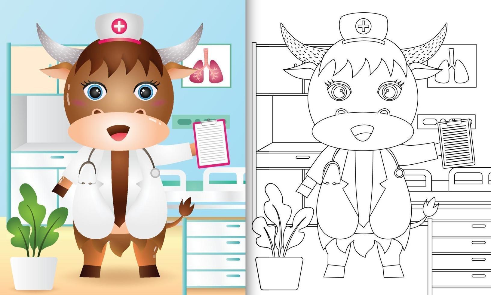 kleurboek voor kinderen met een schattige buffel verpleegster karakter illustratie vector
