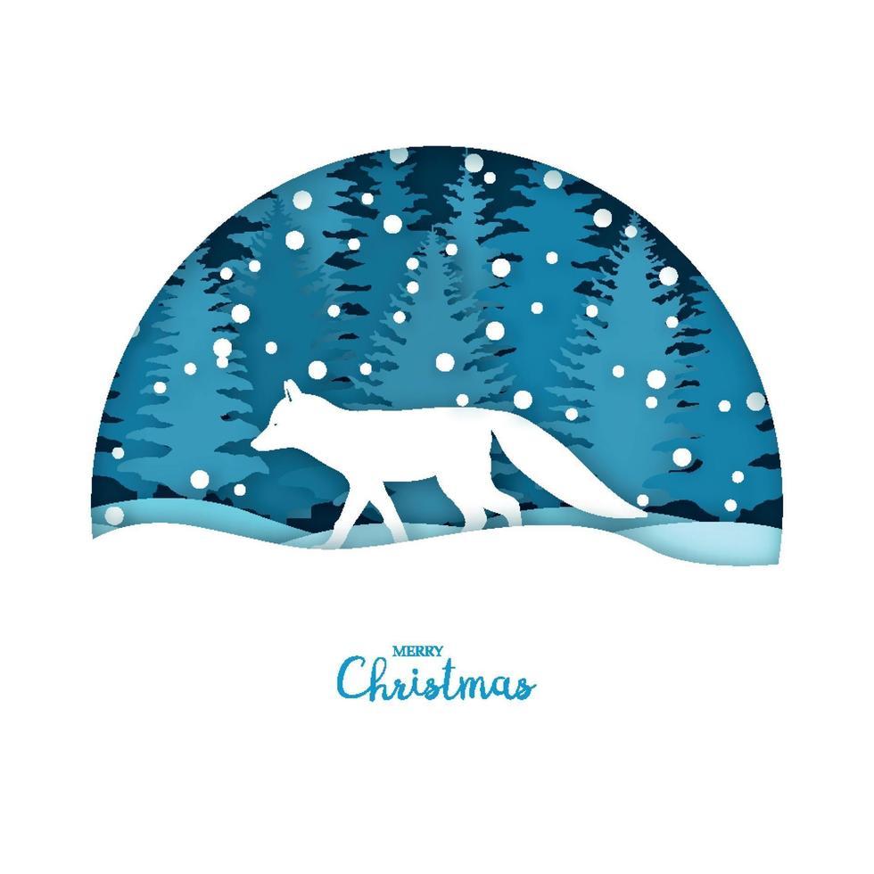 vrolijke kerstkaart. witte vos in het sneeuwbos. wenskaartsjabloon in papier gesneden ambachtelijke stijl. vector