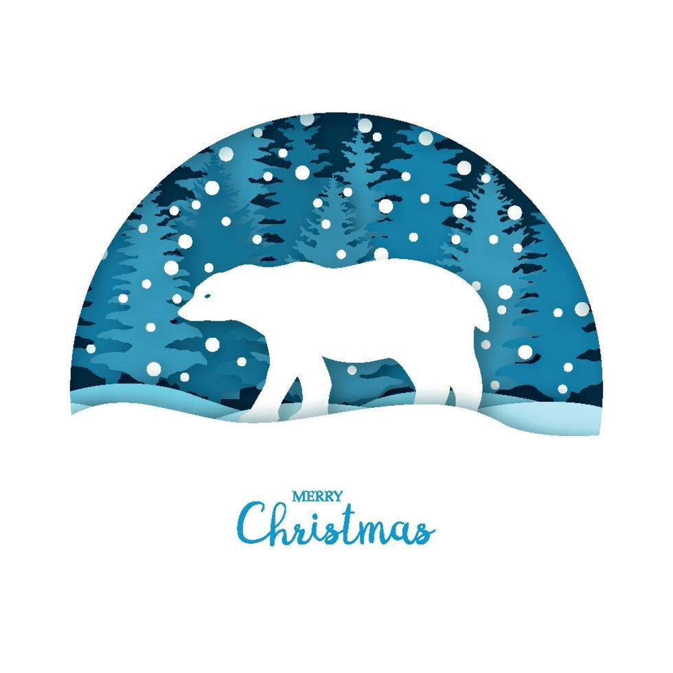 vrolijke kerstkaart. witte beer in het sneeuwbos. wenskaartsjabloon in papier gesneden ambachtelijke stijl. origami concept. vector