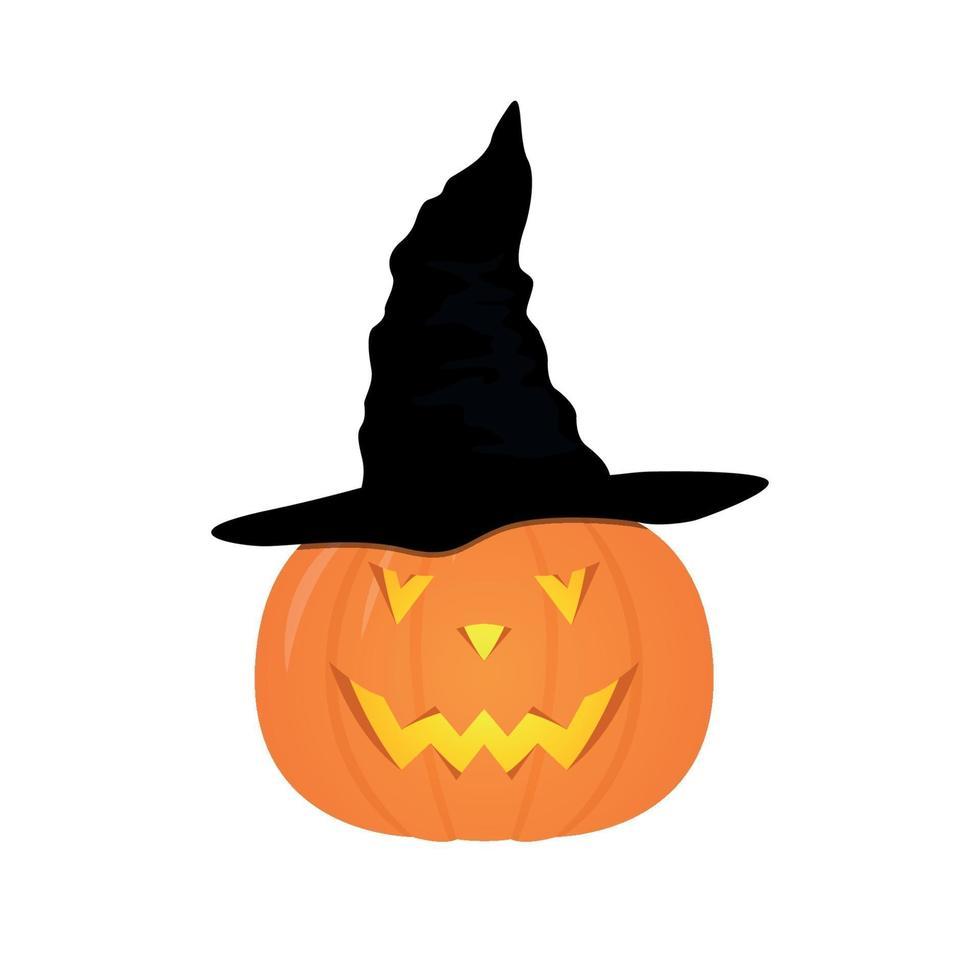 Halloween-pompoen met zwarte heksenhoed. vector