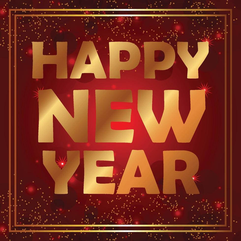 gelukkig nieuwjaarsfeest flyer met gouden letters vector
