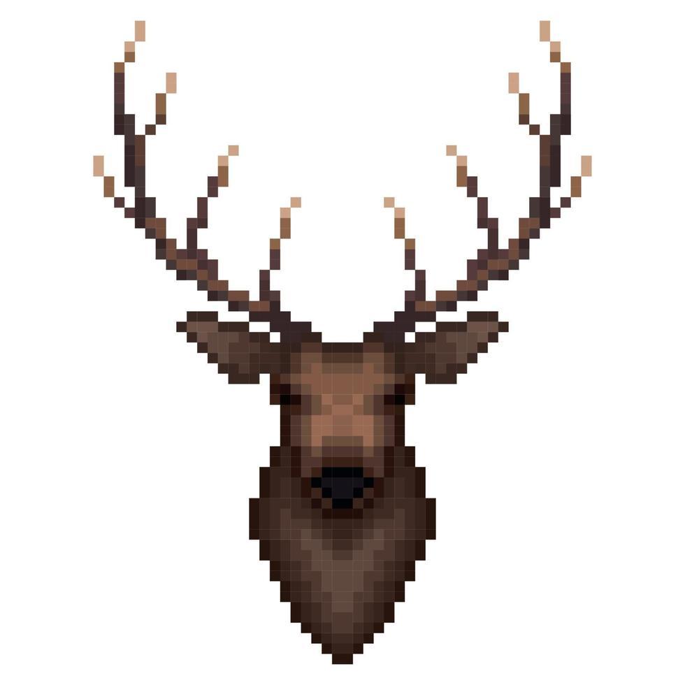 hertenportret in pixelart-stijl. vector illustratie.
