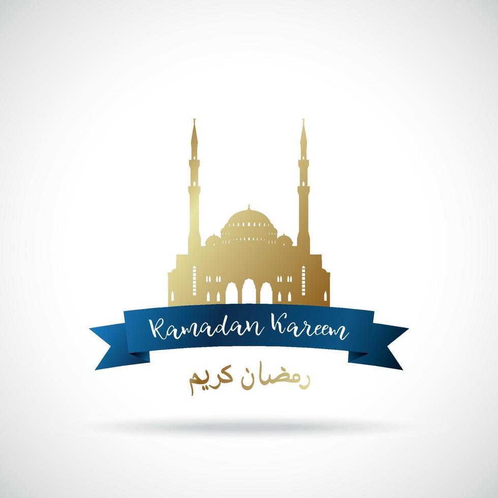 ramadan kareem wenskaart. gouden islamitische moskee. vertaling van tekst - ramadan kareem. vector
