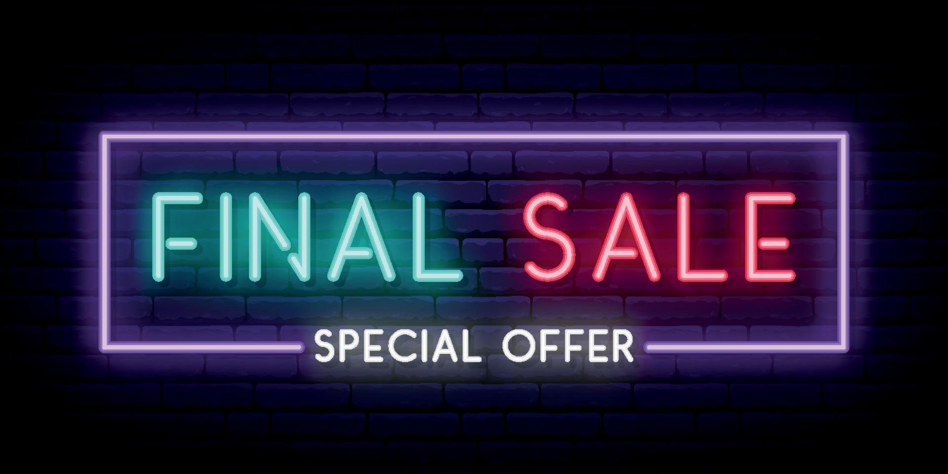 definitieve verkoop neon uithangbord. verkoop lichte banner. vector